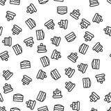 Десерта торта пекарни вектор картины сладкого безшовный иллюстрация вектора