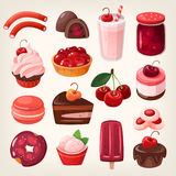 Десерты вишни иллюстрация штока