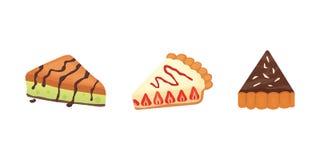 Десерты помадок возражают собрание, торты клубники, плодоовощ и пироги ягоды сладостные с сливк Домодельный торт хлебопекарни стоковая фотография
