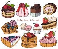 десерты собрания цветастые Красочные, живые, стильные помадки и печенья с ягодами и замороженностью иллюстрация вектора