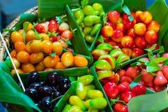 Десерты Таиланд плодоовощ сделанный из сои после этого покрыли студень Стоковое Изображение