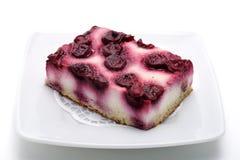 десерт вишни сыра торта Стоковое Изображение RF