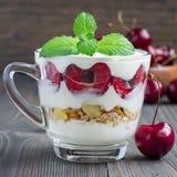 Десерт вишни, muesli и югурта в стеклянной чашке, verrine вишни, квадратном формате, крупном плане Стоковые Фото