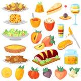 Десерт еды вектора хурмы свежий fruity и сладостный плодоовощ комплекта иллюстрации хурм-дерева вегетарианского питания бесплатная иллюстрация