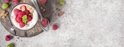 Десерт лета здоровый с полениками и югуртом на разделочной доске Формат знамени Стоковые Изображения