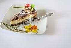 Десерт и вилка на поддоннике Стоковая Фотография