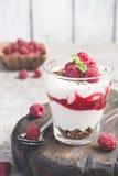 Десерт или завтрак поленики с естественным югуртом в стеклянной кружке и зрелых полениках Стоковое Изображение