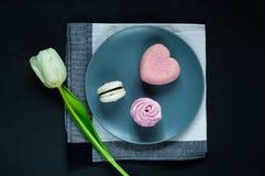 Десерт на голубой плите и белом тюльпане на темной предпосылке, космосе для текста Стоковое фото RF