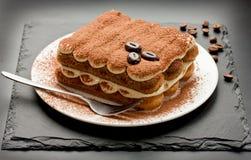 Десерт домодельного торта тирамису традиционный итальянский Стоковая Фотография