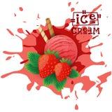 Десерт плодоовощ шарика клубники мороженого выбирает ваш плакат кафа вкуса иллюстрация штока