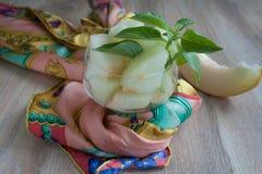 Десерт свежих кусков дыни Украшенный с красочной тканью Стоковые Изображения RF