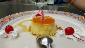 Десерт с вишнями Стоковое Изображение