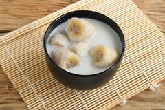 десерт тайский молоко кокоса банана Стоковые Изображения