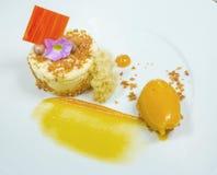 Десерт творога при мороженое украшенное с шоколадом и цветками yellow На белом toiler Стоковое Изображение RF