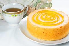 Десерт торта с чаем Стоковое фото RF