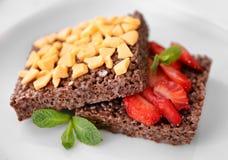 Десерт шоколада кудрявый с клубникой Стоковая Фотография