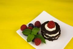 Десерт шоколада с взбитой сливк Стоковое фото RF