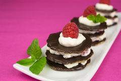 Десерт шоколада с взбитой сливк Стоковые Фото