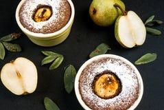 Десерт шоколада с грушами Стоковое фото RF