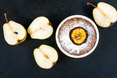 Десерт шоколада с грушами Стоковое Изображение