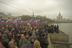 Десятки тысяч маршируют в памяти о убитом Борисе Nemtsov 1-ого марта 2015 Стоковая Фотография RF