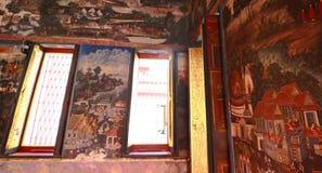 Детализируйте старую картину на окне и стене Стоковое Фото