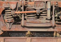 детализируйте старый ржавый поезд пара Стоковые Изображения