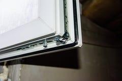 Детализируйте фото современного профиля PVC окна стоковое изображение rf