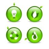 детализируя относящая к окружающей среде зеленая сеть листьев икон Стоковое фото RF