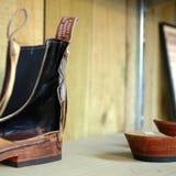 Детали ботинка отрезка в сапожнике ходят по магазинам Стоковое Изображение