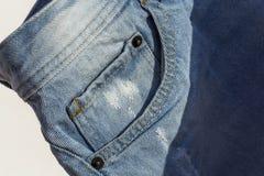Детали голубых джинсов в молнии, карманн Стоковое Изображение RF