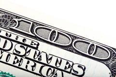 Детали 100 долларов, съемки конца-вверх Стоковые Фото