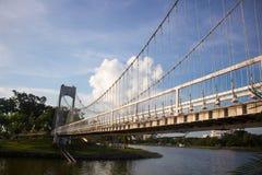 Детали закрывают вверх по висячему мосту Стоковые Фотографии RF