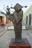 Детали крупного плана статуи Leonore Carrington в Кампече Мексике Стоковые Фотографии RF