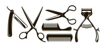 Детали парикмахерскаи как ножницы, гребень, бритва, механически клипер волос Ретро силуэты вектора иллюстрация вектора