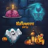 Детали партии хеллоуина иллюстрации вектора установленные стоковые фото