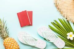 Детали перемещения плоские положенные: свежий ананас, тапочки пляжа, тропический цветок и лист ладони E r r стоковые фотографии rf
