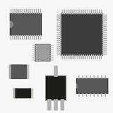 Детали радио обломок сопротивление, транзистор, резистор также вектор иллюстрации притяжки corel Стоковая Фотография RF