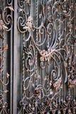 Детали, структура и орнаменты выкованного железного строба Флористический декабрь Стоковые Фото