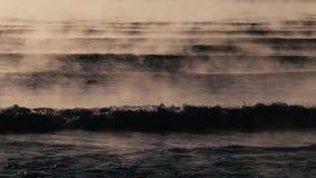 Детали туманных вод Чёрного моря во время восхода солнца сток-видео