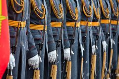 Детали формы пехоты почетного караула 154 Preobrazhensky Regimentat торжественное событие Стоковое Изображение RF
