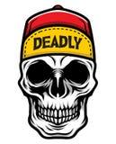 Детальная классическая голова черепа нося иллюстрацию шляпы водителя грузовика конька иллюстрация штока