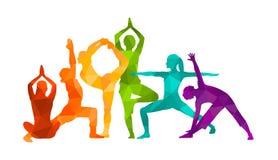 Детальная красочная иллюстрация вектора йоги силуэта релаксация pilates пригодности принципиальной схемы шарика гимнастика Aerobi иллюстрация штока