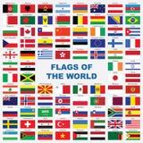 детальные флаги эмблем сортировали мир Стоковое Изображение RF