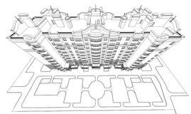Детальный архитектурноакустический план многоэтажного здания с умаляя перспективой Светокопия вектора Иллюстрация штока