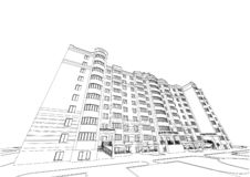 Детальный архитектурноакустический план многоэтажного здания с умаляя перспективой Светокопия вектора Бесплатная Иллюстрация