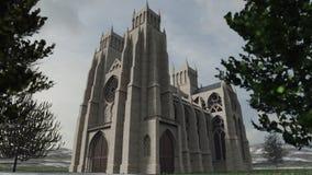 Детальный перевод 3D старого собора стоковая фотография rf