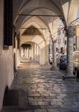 Деталь аркад средневекового городка Montagnana стоковое изображение rf