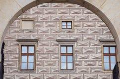 Деталь геометрических картины кирпичной кладки и дворца schwarzenberg свода Стоковые Изображения RF