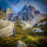 Деталь горных вершин rolle Passo стоковая фотография rf